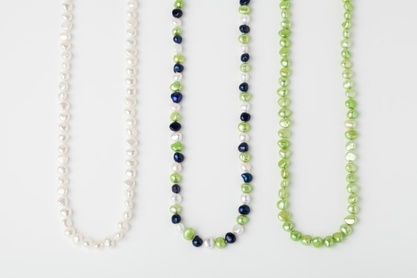 WHITE, LAPIS BLUE AND APPLE GREEN POTATO PEARL LOOP NECKLACES