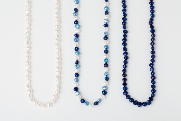 WHITE, SKY BLUE AND LAPIS BLUE POTATO PEARL LOOP NECKLACES