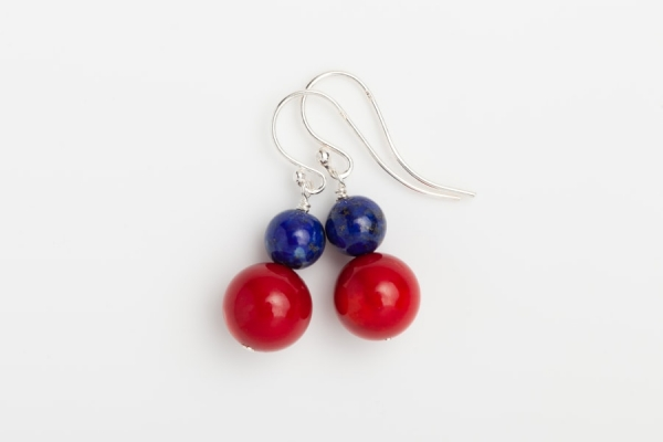 RED CORAL AND LAPIS EARRINGS