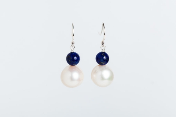WHITE BAROQUE PEARL AND LAPIS EARRINGS