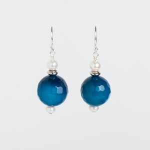 BLUE MARINE QUARTZ AND PEARL EARRINGS