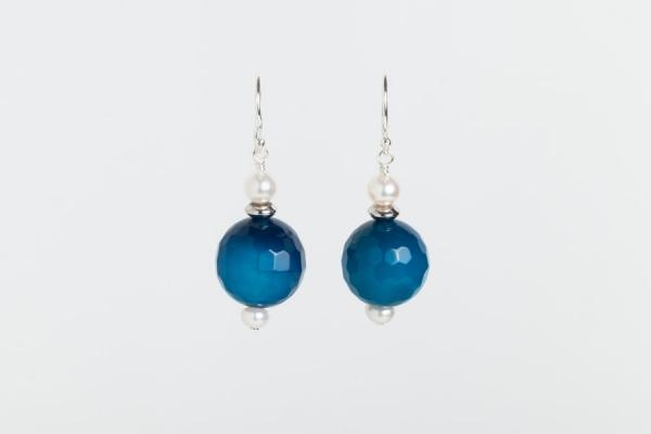 BLUE MARINE QUARTZ AND PEARL EARRINGS