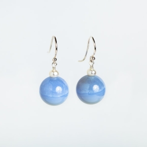 14MM CHALCEDONY AND PEARL EARRINGS