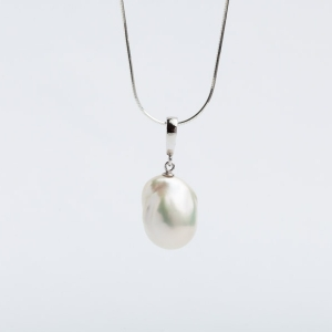 14MM WHITE FIREBALL PEARL PENDANT WITHOUT CHAIN