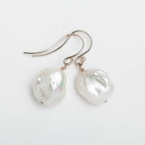 WHITE KESHI PEARL EARRINGS
