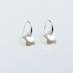 14MM WHITE SEASHELL PEARL EARRINGS WITH SHORT HOOK