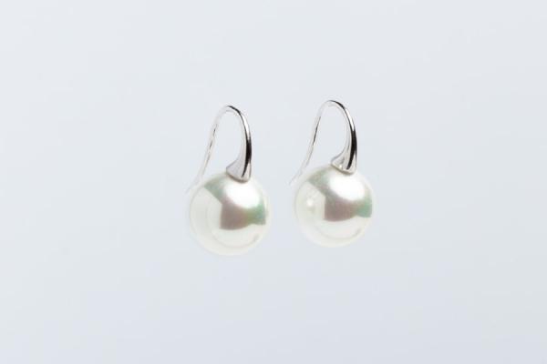 14MM WHITE SEASHELL PEARL EARRINGS WITH SHORT HOOK