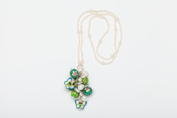 PEARL CHARM NECKLACE WITH ACID GREEN & SKY BLUE ENAMEL BEADS