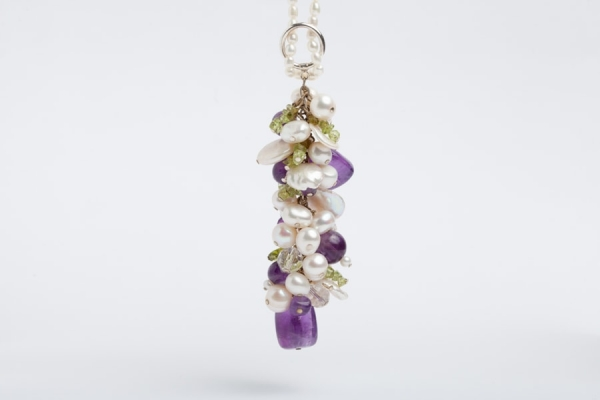 PEARL CHARM NECKLACE WITH AMETHYST, PERIDOT & CRYSTAL