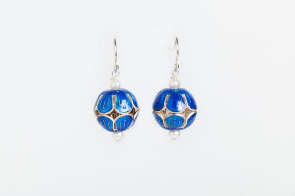AZURE BLUE ENAMEL BEAD & PEARL EARRINGS