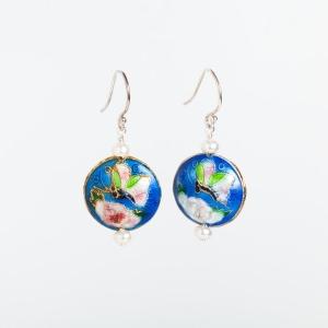 AZURE BLUE ENAMEL DISC & PEARL EARRINGS WITH BUTTERFLY & FLOWER