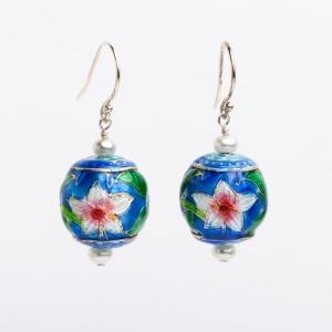 AZURE BLUE ENAMEL FLOWER & PEARL EARRINGS