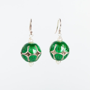 EMERALD GREEN ENAMEL BEAD & PEARL EARRINGS