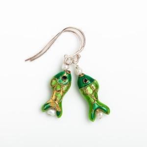 EMERALD GREEN ENAMEL FISH & PEARL EARRINGS