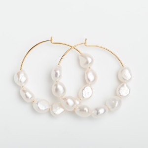 GOLD PLATED HOOP EARRINGS WITH 8 FRESHWATER PEARLS