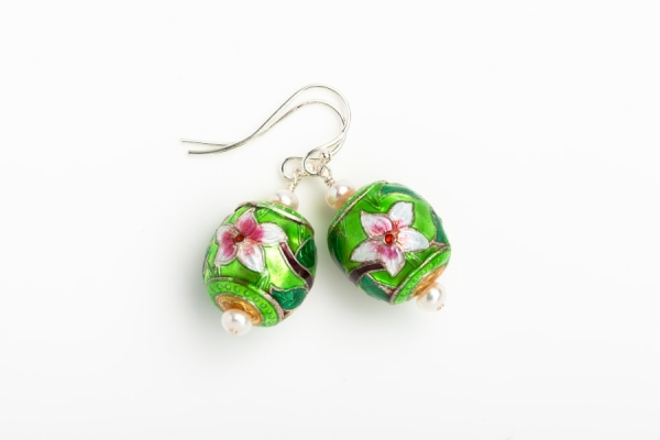 LIME GREEN ENAMEL FLOWER & PEARL EARRINGS