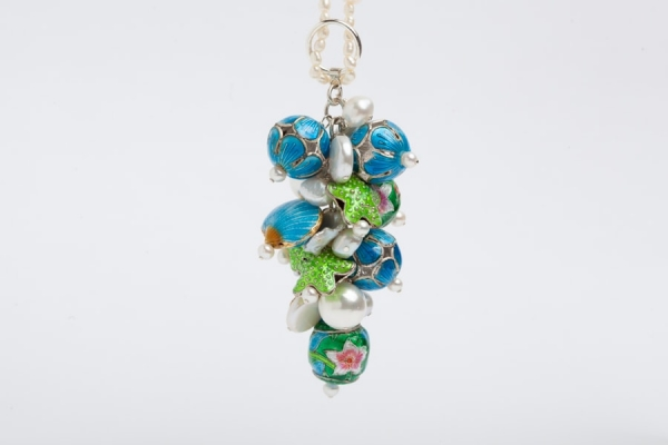 PEARL CHARM NECKLACE WITH LIME GREEN & SKY BLUE ENAMEL BEADS