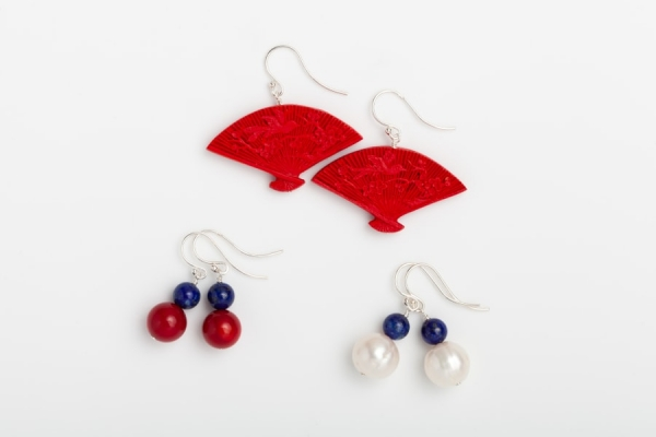 CINNABAR, RED CORAL AND WHITE BAROQUE PEARL EARRINGS