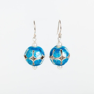 SKY BLUE ENAMEL BEAD & PEARL EARRINGS