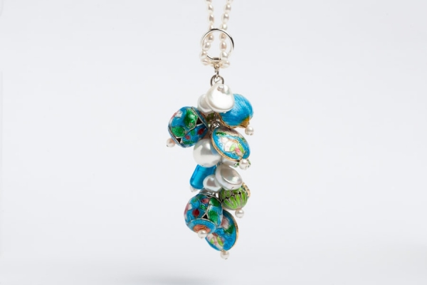 PEARL CHARM NECKLACE WITH SKY BLUE & LIME GREEN ENAMEL BEADS