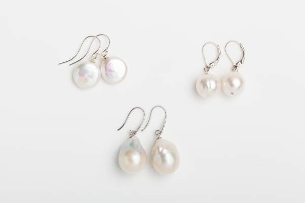 WHITE BAROQUE, COIN AND FIREBALL PEARL EARRINGS