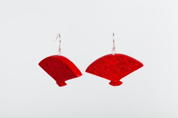 RED CINNABAR FAN EARRINGS