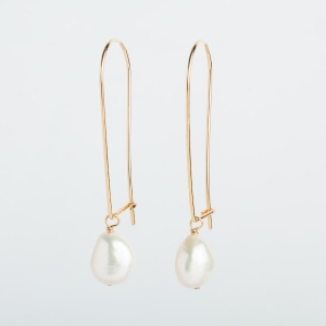 WHITE KESHI PEARL EARRINGS - LONG DROP