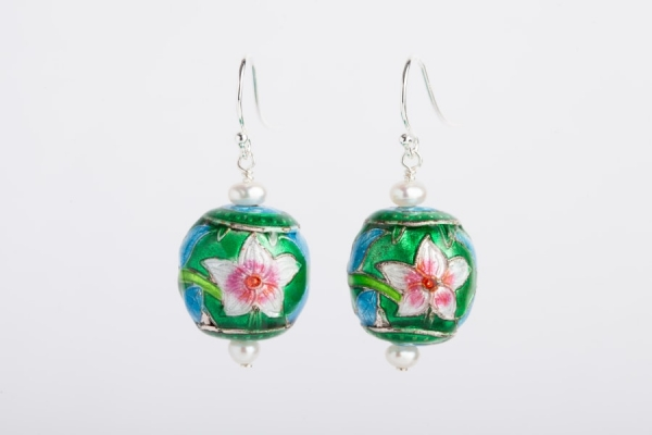 SKY BLUE & EMERALD GREEN ENAMEL FLOWER & PEARL EARRINGS