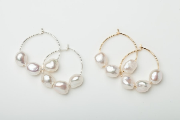 STERLING SILVER & GOLD PLATED HOOP EARRINGS - 3 FRESHWATER PEARLS